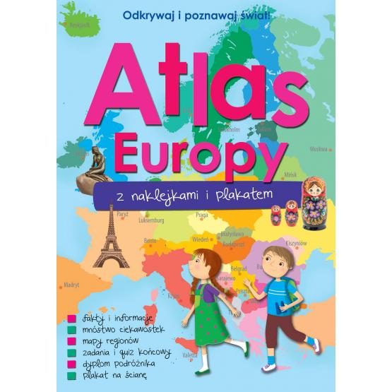 Książka ATLAS EUROPY Z NAKLEJKAMI I PLAKATEM Praca zbiorowa