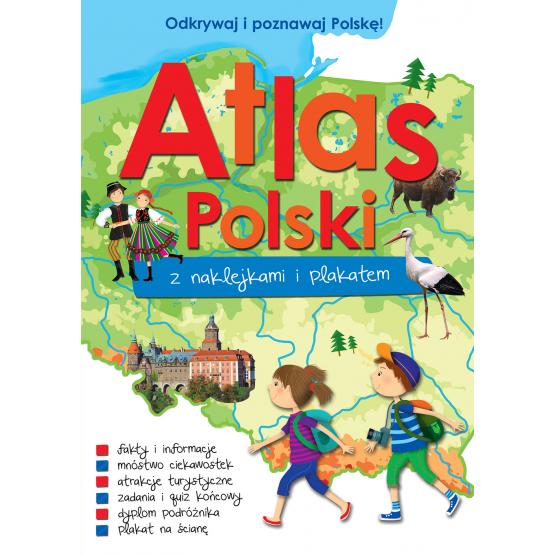 Książka Atlas Polski z naklejkami i plakatem Praca zbiorowa