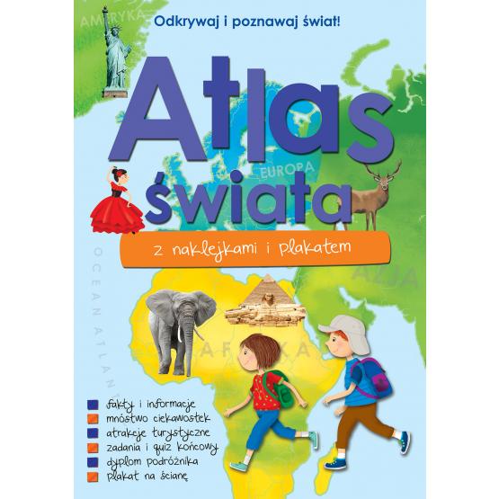 Książka Atlas świata z naklejkami i plakatem Praca zbiorowa