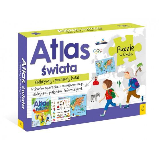 Książka Pakiet Atlas Świata: Atlas. Plakat z mapą. Puzzle praca zbiorowa