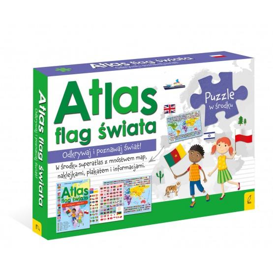 Książka Pakiet Atlas flag świata: Atlas. Plakat z mapą. Puzzle praca zbiorowa