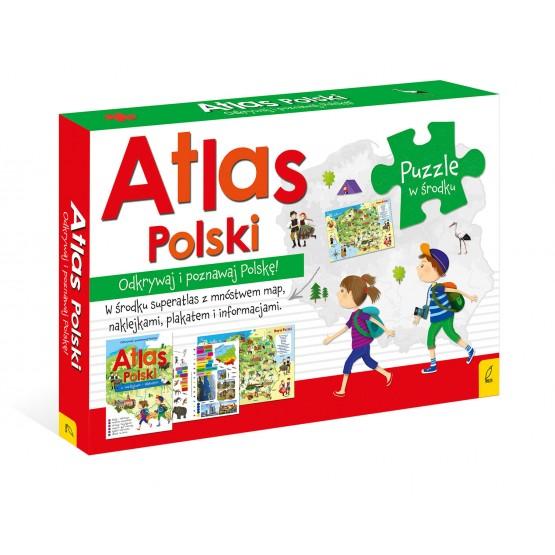 Książka Pakiet Atlas Polski: Atlas. Plakat z mapą. Puzzle praca zbiorowa