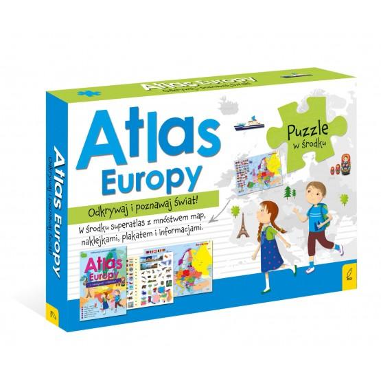 Książka Pakiet Atlas Europy: Atlas. Plakat z mapą. Puzzle  praca zbiorowa